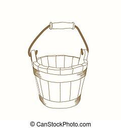 hand drawn bucket - hand drawn wooden bucket