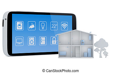 Smart house concept with smartphone app control panel - 3D...