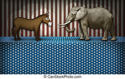 Political Debate - Donkey and elephant face off on a...