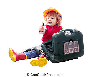 Sitting child in hardhat with tools