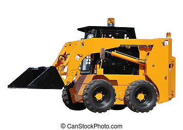 skid steer loader with half raised bucket isolated