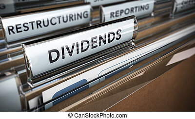 Dividends - File tab with focus on the word dividends...