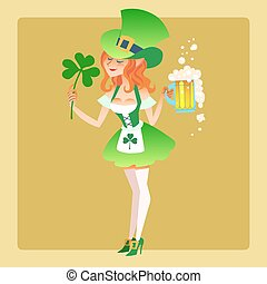 Girl elf green costume St. Patrick day