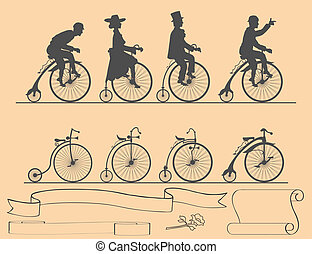 Designer of retro bicycles - set of bicycles and ribbons...