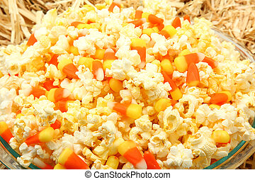 Popcorn Candy Corn Mix - Bowl of butter popcorn and candy...
