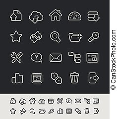 FTP and Hosting Icons -- Black Line