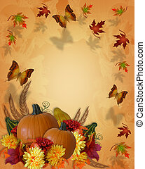 Thanksgiving Autumn Fall Border butterflies