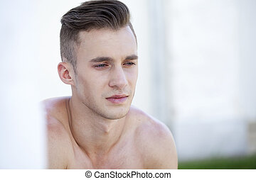 Beautiful muscular male model - Sexy portrait of a very...