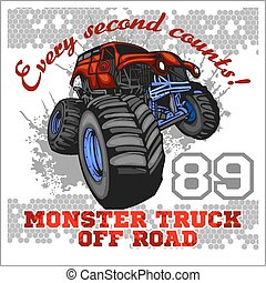 Monster Truck - off road badge - vector illustration
