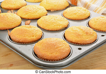 Cupcakes in the baking tin - Yellow cupcakes in a baking tin...