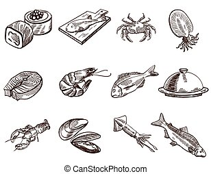 foodstuffs set of hand drawn vector sketches on a white...