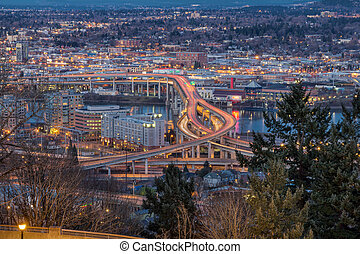 Portland City Eastside at Evening Blue Hour - Portland...