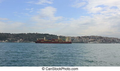 large container ship passing Bosphorus Istanbul Turkey