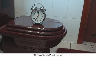 Alarm Clock on the Toilet Bowl