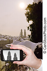 photo of Zurich city with towers of Grossmunster church -...