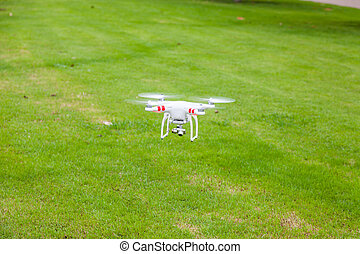 flying drone with camera prepair to fly - flying drone with...