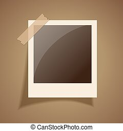 Retro photo frame, vector illustration
