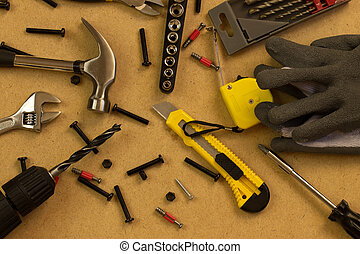 work tool - Working tools on a wooden boards background...