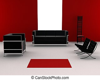 interior - 3d rendered illustration of leather sofas and...