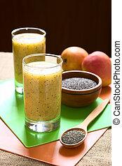 Chia, 種子, 以及, 芒果, 汁,