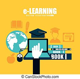 e-learning design, vector illustration eps10 graphic