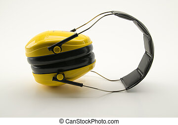 yellow ear protection, safety devices