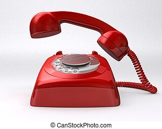 retro phone - 3d rendered illustration of a red telephone