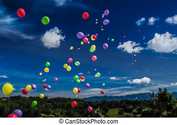 Tilt Shift Balloon Release - A tilt shift effect is used on...