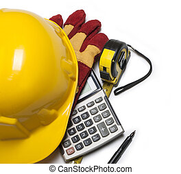 isolated hard hat with gloves and rulers on white
