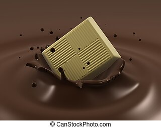 chocolate splash - 3d rendered illustration of pieces of...