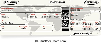 Vector image of airline boarding pass ticket - Vector image...