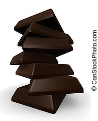 chocolate - 3d rendered illustration of pieces of chocolate