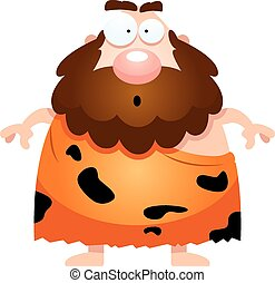 Surprised Cartoon Caveman - A cartoon illustration of a...
