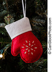 White and Red Felt Mitten Ornament Vertical - A felt red and...
