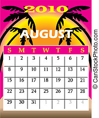 august2010 - Vector Illustration of 2010 Calendar with a...