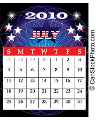 july2010 - Vector Illustration of 2010 Calendar with a...