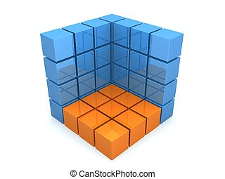 3d cubes - 3d rendered illustration of blue and yellow cubes