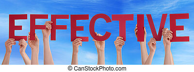 Many People Hands Holding Red Straight Word Effective Blue...