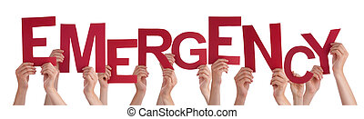Many People Hands Holding Red Word Emergency - Many...