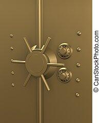 gilden vault - 3d rendered illustration of a golden safe...