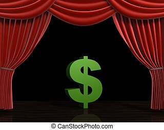 dollar and curtain