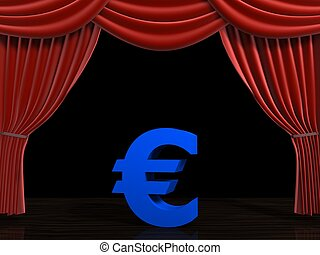 euro and curtain