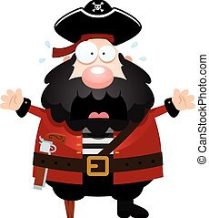 Scared Cartoon Pirate - A cartoon illustration of a pirate...