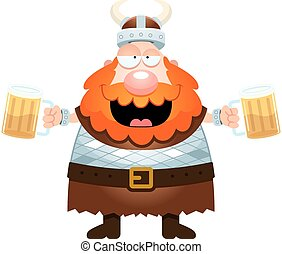 Cartoon Viking Drinking Beer