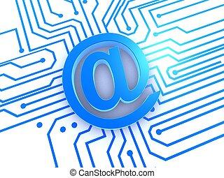 at sign - 3d rendered illustration of a blue internet sign
