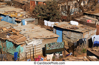 Shanty town living. - Shanty Town living, slums of Soweto.