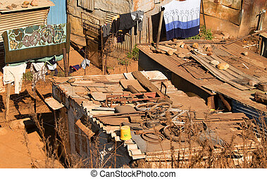 Slum housing. - Slum Housing of Soweto.