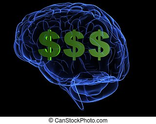 money brain - 3d rendered illustration of a transparent...