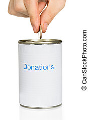 Person Putting Coin In Donation Can - Persons Hand Putting...