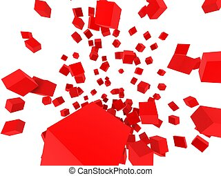 cubes blowing up - 3d rendered illustration of many red...